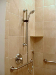 Roll-in shower - controls